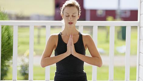 frau, yoga, meditation