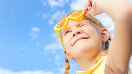 mädchen, sonnenbrille, sonne, uv-licht