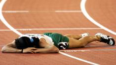 Läufer, erschöpft, Ziel