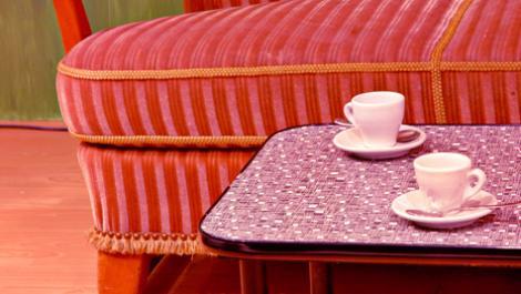 sofa, kaffeetassen, tisch