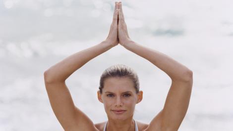 frau, meer, yoga