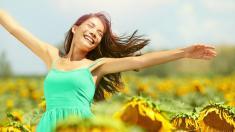 Frau, Sonnenblumen, Sommer, Sonne