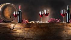 Rotwei, Flaschen, Weintraube, Fass