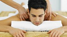 Rückenschmerzen, Mann, Massage, Nacken