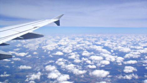 flügel, flugzeug, wolken
