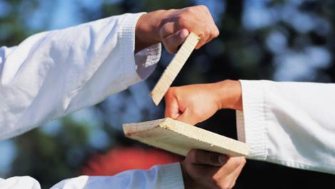 karate, schlag, brett