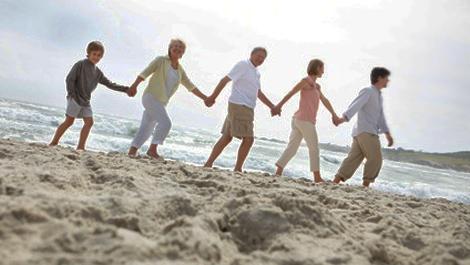 familie, menschenkette, strand