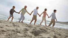 Menschenkette, Familie, strand