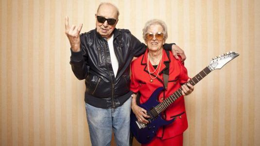 gitarre, oma, paar, alt