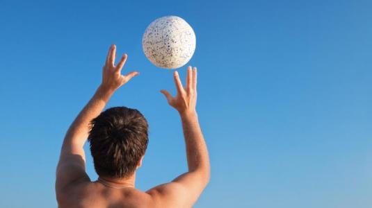 ataxie, mann, volleyball spielen