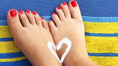 Sonnencreme, Frau, Füße